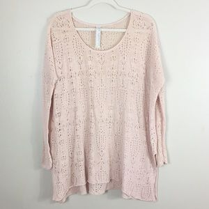 Free People Pink open Knit tunic sweater size L